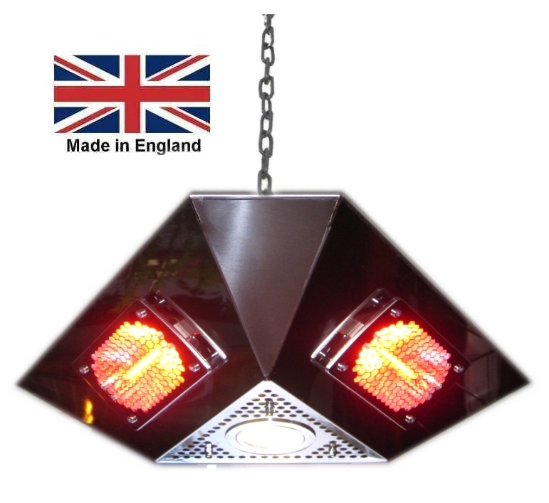 3 sided pendant heater with light