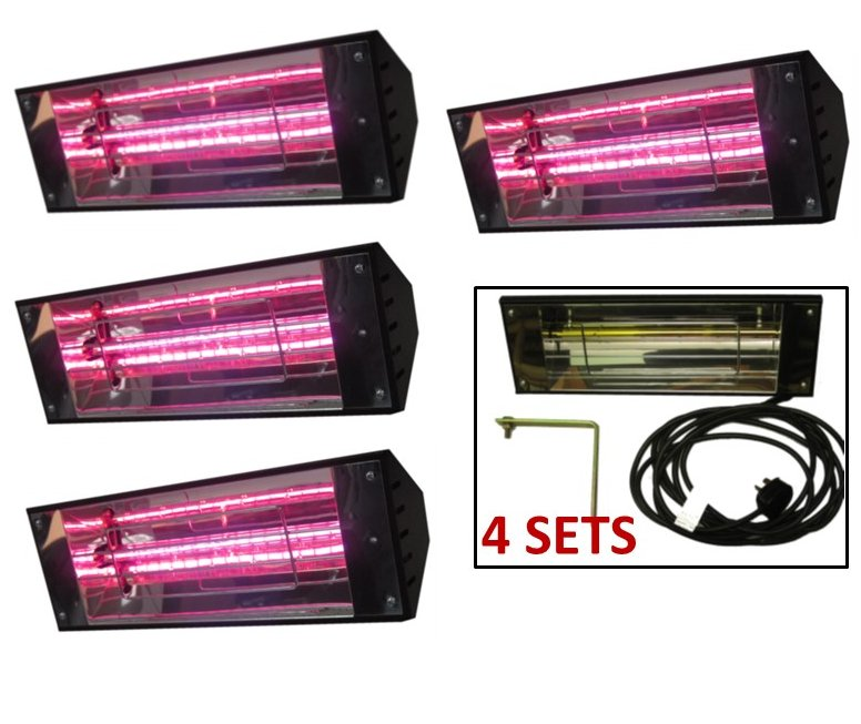 Bundle of 4 Warehouse Heaters with 5m Lead and 13A Plug