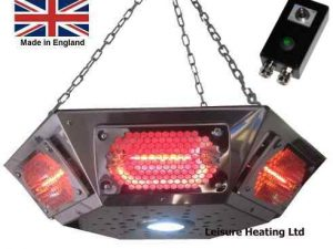 ALL NEW! 3000W Short-wave Infra-red Pendant Gazebo Heater with LED Light and Full Control