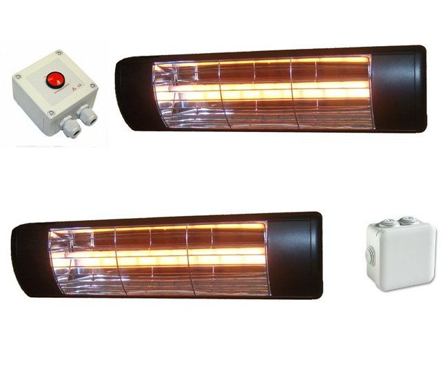 3kW Equestrian Infra-red Heating System - Two 1.5kW Heaters and One Time-out Switch